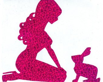 Rabbit and Pin Up Silhouette, Purple Glitter Vinyl Decal