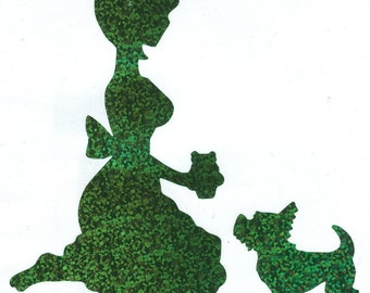 Bella the Westie and Pin Up Silhouette,Green Glitter Vinyl Decal