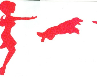DISCONTINUATION SALE: Australian Shepherd Frisbee Dog and Pin Up Silhouette, Pink Glitter Vinyl Decal