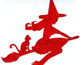 Cat and Pin Up Witch Silhouette, Red Glitter Vinyl Decal