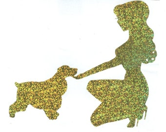Cocker Spaniel and Pin Up Silhouette, Gold Glitter Vinyl Decal