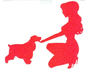 Cocker Spaniel and Pin Up Silhouette, Pink Glitter Vinyl Decal
