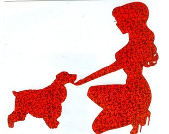 Cocker Spaniel and Pin Up Silhouette, Red Glitter Vinyl Decal