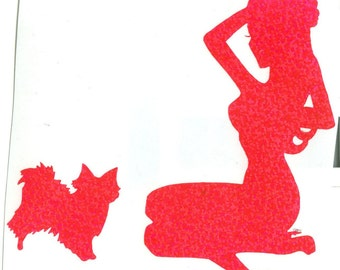 Papillon and Pin Up Silhouette, Purple Glitter Vinyl Decal
