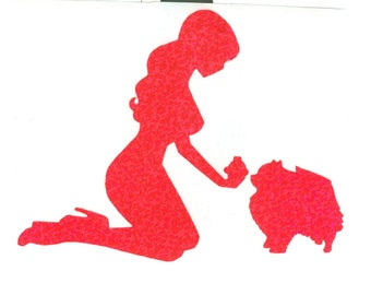 Pomeranian and Pin Up Silhouette, Pink Glitter Vinyl Decal
