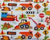 Dig It fabric by Michael Miller, construction trucks