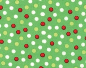 Santa Little Helpers Green w/dots fabric by Erin Michael for Moda