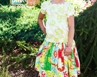 Pink Fig Pattern -- The Girly Stripwork skirt -- FREE SHIPPING