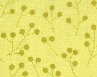 End of Bolt 1 3/4 yard  Sugar Pop fabric by  Liz Scott Dots Mod Buds in Chartreuse -- Moda