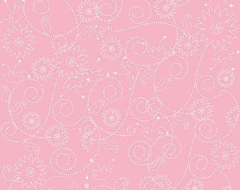 Penny Lane Pink floral swirls by My Minds Eye for Riley Blake Designs