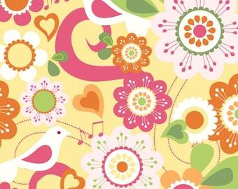 Riley Blake Designs Summer Song Yellow Songbird fabric by My Mind's Eye