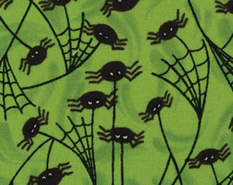 Trick or Treat Collection -- Green with little Black Spiders and Webs Cotton Fabrics