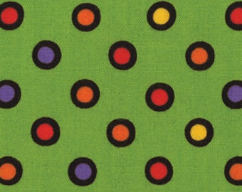 Trick or Treat Collection -- Green with Multi colored Dots Cotton Fabric