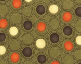 Grand Finale Moss Orange Brown and Cream Dots fabric by Sandy Gervais for Moda Fabrics