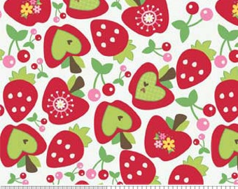 Apples, Strawberries, and Cherries -- Hoo's in the Forest Fruit fabric by Doohikey Designs for Riley Blake Designs