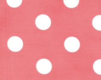 Moda Fabric -- Dottie Basic in Pink Peony  1/2 inch white dots