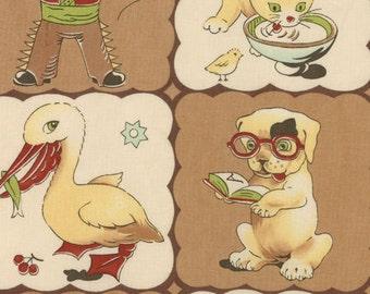 Moda Lil' Rascals Retro Fabric -- The Gang  -- Patchwork -- Dogs, Ducks, Kittens, Rabbits, Monkey