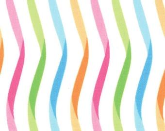 Moda -- Twirl Ribbon Stripe -- Whirling White multi-color