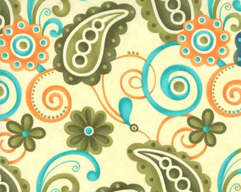 Moda -- Sassy Large Cream-Lime Paisley, fabric by the yard, great for handbags, totes, apparel, quilting, crafts, several coordinates