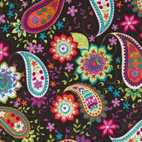 Michael Miller Paisley Spree in Cocoa fabric
