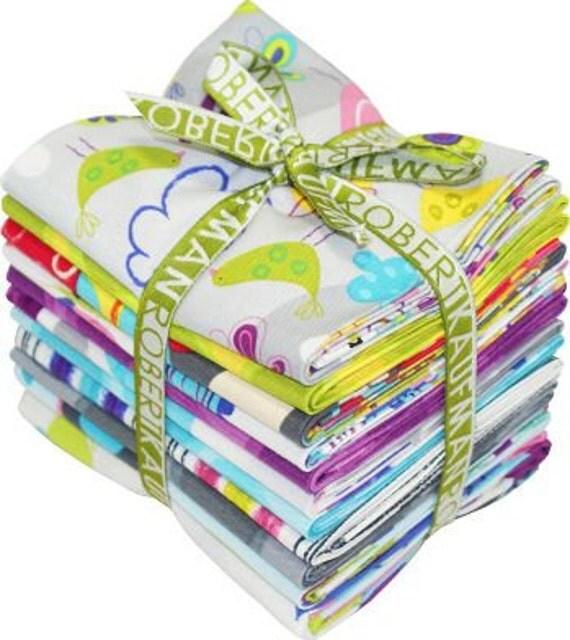 FAT Quarter Bundle -- Amy Schimler's Fly Away in Sunset for Robert Kaufman -- floral, dots, birds, butterflies, trees
