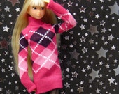 Argyle Holidays Pink Sweater for Momoko, Barbie, FR, Pullip and other 11 inch dolls