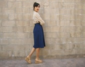1970s navy blue FULL knee length skirt high waist XS-S
