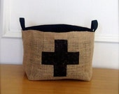 X Large Coffee Sack Basket - Black Swiss Cross