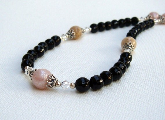 Flower Beads and Black Onyx Necklace