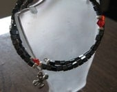 Memory Wire Beaded Bracelet Gunmetal beads and Swarovski Fireopal Crystals with Cross