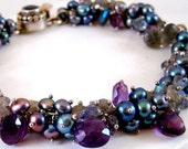 Dusk- Freshwater pearl, Labradorite, Amethyst, Iolite, Sterling Bracelet