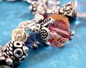 Gypsy Charm Bracelet -Sterling silver, rainbow gemstones, pearl