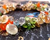 Island Girl Bracelet- Citrine, Peridot, Prasiolite, Apatite, Carnelian, Chyroprase Gem Bracelet