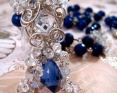 Sterling Necklace Blue Topaz, Jade, freshwater pearl, moonstone, white topaz, aquamarine