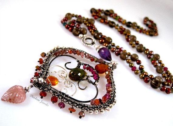 Gaia Necklace Tourmaline, Sterling, Citrine, Pearls, Smokey Quartz, Garnet, Amethyst
