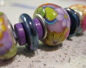 Purple Pandora-style polymer clay and Greek ceramic bead necklace
