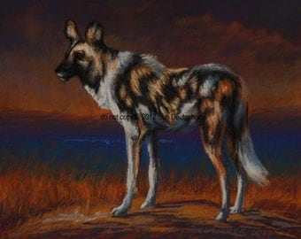 African Wild Dog print from painting