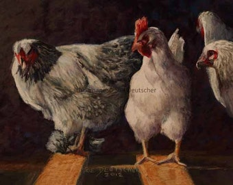 Chickens hens art print from painting