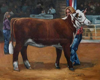 Cow Cattle Heifer Hereford print made from painting
