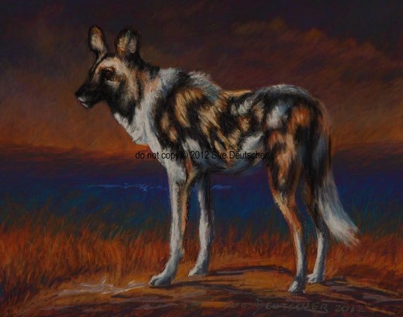 Items similar to African Wild Dog print from painting on Etsy