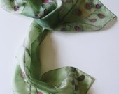 Olives and Wine - hand painted silk scarf