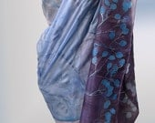 Hand painted silk scarf shawl-Decorative blue violet scarf-Sapphire Spirals and Buds.Made to order. Mothers Day