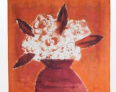 Square Silk scarf in tangerine orange. Hand painted silk scarf. Luxury wearable art. Flowers in burnt orange painted on scarf. Silk painting