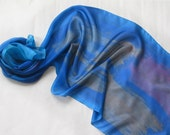 Cobalt blue scarf. Hand painted silk scarf. Long, abstract scarf in shadows of blue. Woman fashion scarf. Painting on silk by Dimo