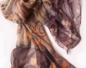 Hand painted  scarf silk chiffon Chinese Lantern and Gold Spirals RESERVED FOR LINDA