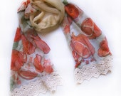 Hand painted silk chiffon scarf Fruits pomegranates with chili paper and lace
