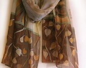 Hand painted silk chiffon scarf- Winter Cherry/ Chocolate brown beige scarf/ Gossamer shawl in decorative style/ Birthday gifts for her