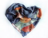 Hand painted silk scarf Tulips in grey foggy
