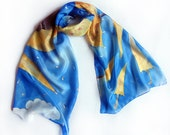 Hand painted silk scarf - The Yellow Umbrellas-Blue yellow silk scarf