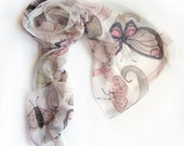 hand painted silk chiffon scarf The Butterfly